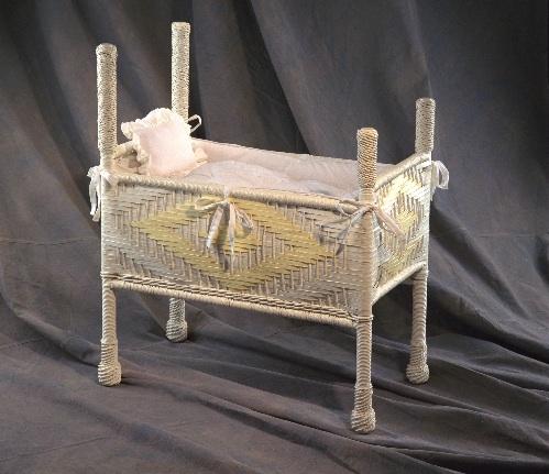 Antique bassinett wicker restoration